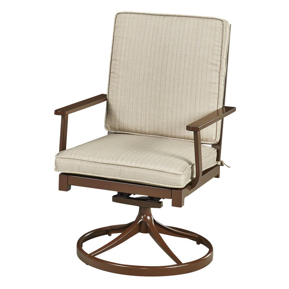 key west chairs graco space saver high chair home styles chocolate brown swivel extruded aluminum outdoor dining with beige cushion