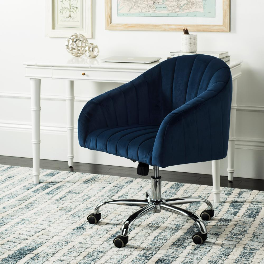 Safavieh Themis NavyChrome Velvet Swivel Office Chair