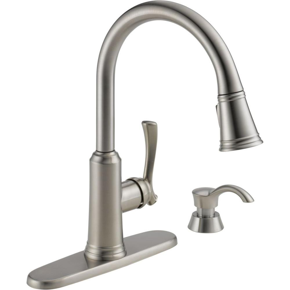 soap dispenser kitchen backsplash tile delta lakeview single handle pull down sprayer faucet with in stainless