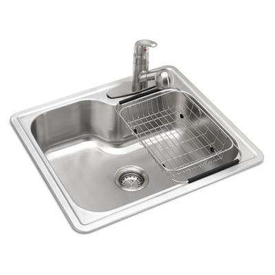 single sink kitchen hotels with kitchens near me sinks the home depot all in one drop stainless steel 25 3 hole