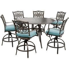 Table With Swivel Chairs Big And Tall Outdoor Folding Hanover Traditions 7 Piece Aluminum High Dining Set Round Cast Top