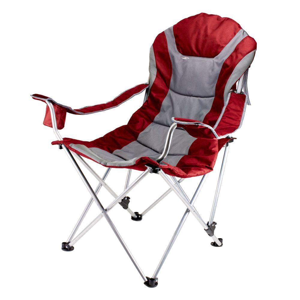 home depot camping chairs leather chaise lounge chair picnic time reclining camp dark red patio 803 00 100 000 0