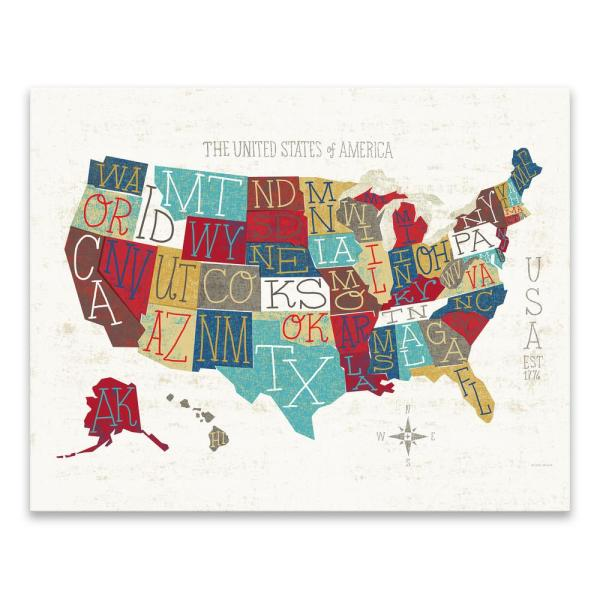 colorful usa map by