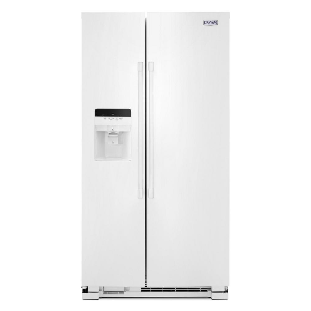 medium resolution of maytag 25 cu ft side by side refrigerator in white with exterior ice and