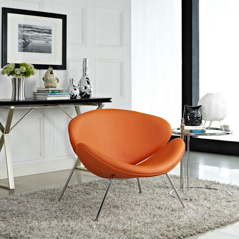 orange upholstered chair fishing chairs modway nutshell vinyl lounge in eei 809 ora