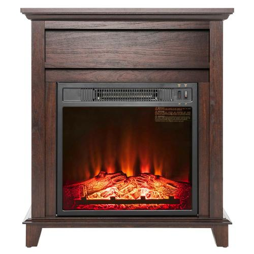 small resolution of freestanding electric fireplace heater in wooden lifesmart