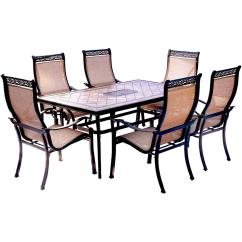 Best Outdoor Dining Chairs Fabric For Chair Seats Hanover Monaco 7 Piece Aluminum Set With Rectangular Tile Top Table And Contoured Sling Stationary