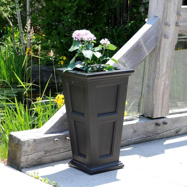 Mayne Fairfield 16 In. Square Black Plastic Column Planter