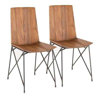 industrial dining chair antique lounge styles chairs kitchen room furniture the java metal and brown teak wood set of 2
