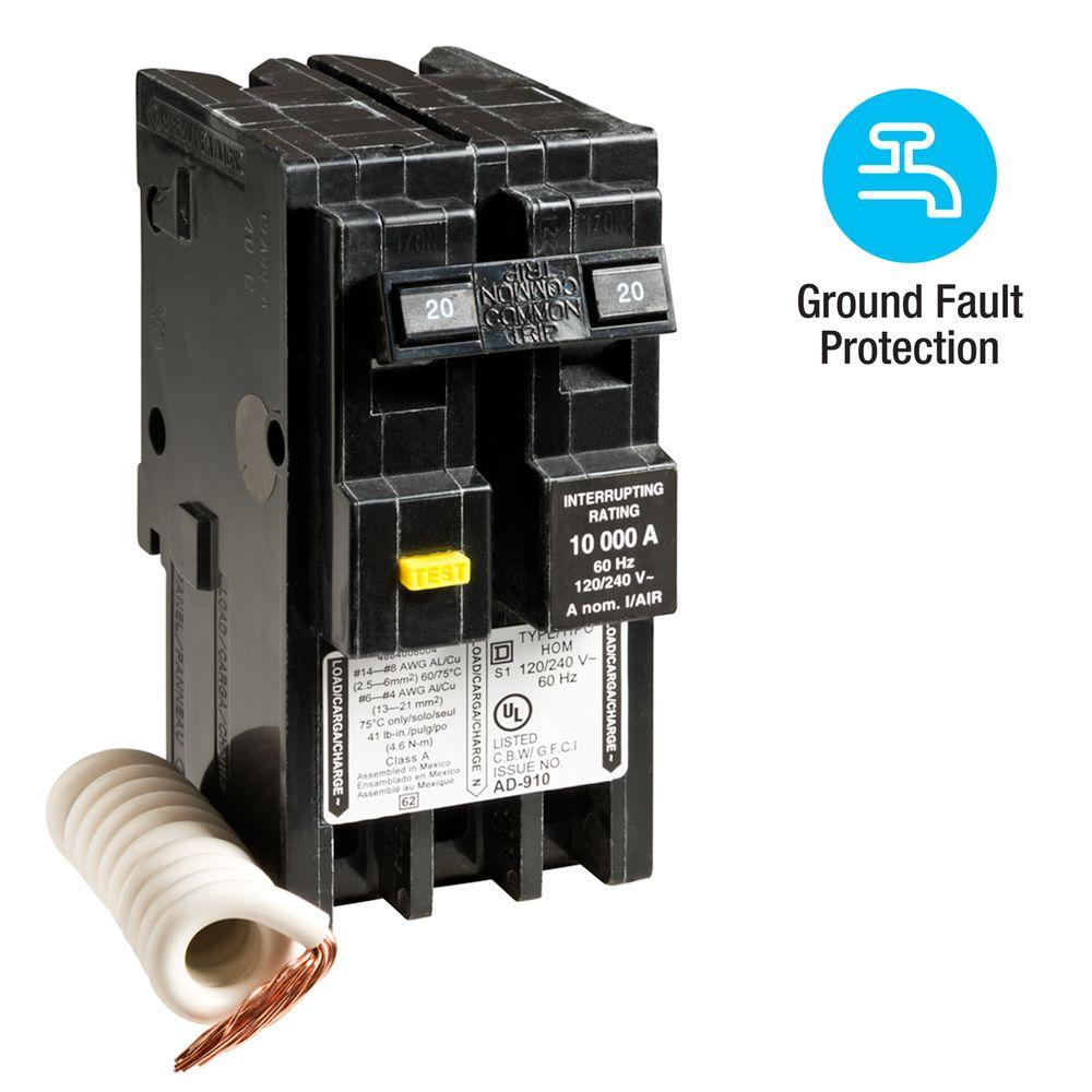 medium resolution of square d homeline 20 amp 2 pole gfci circuit breaker