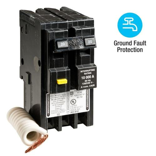 small resolution of square d homeline 20 amp 2 pole gfci circuit breaker
