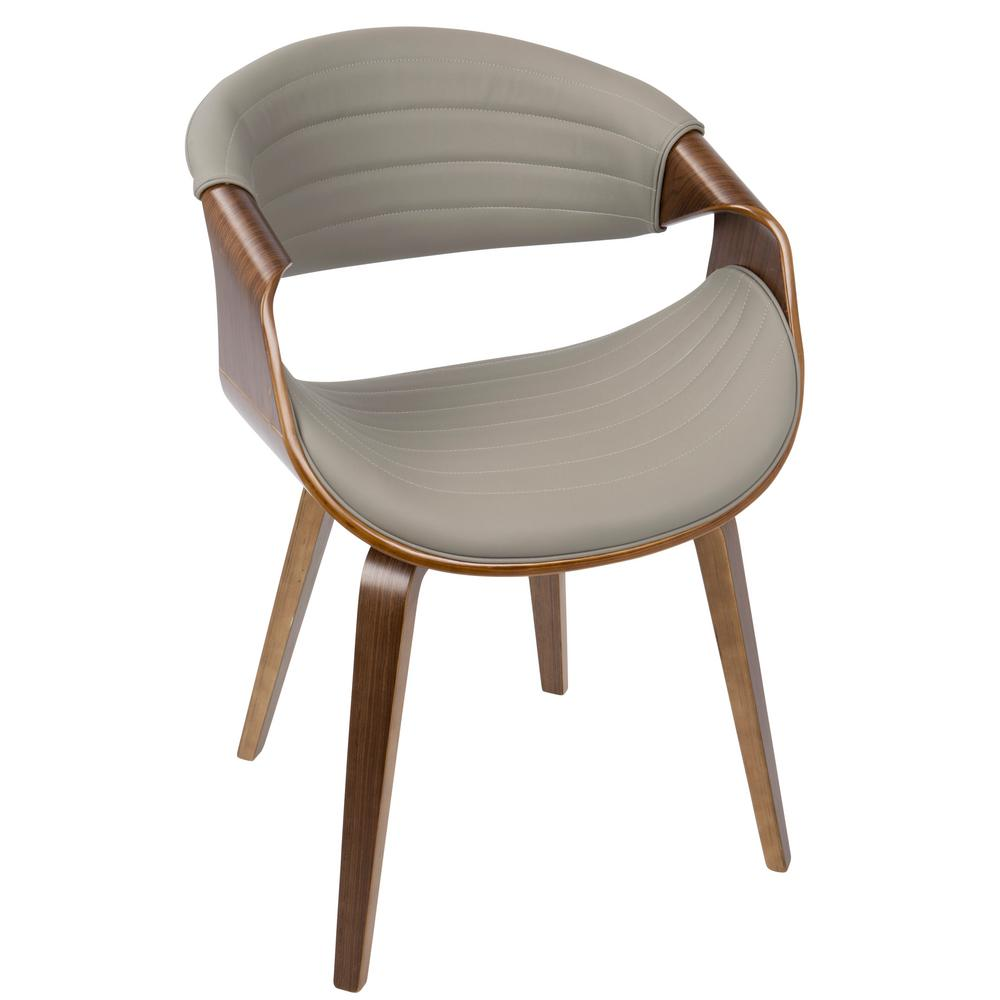 modern leather dining chairs with arms m s chair cushions lumisource symphony mid century walnut and light grey accent faux