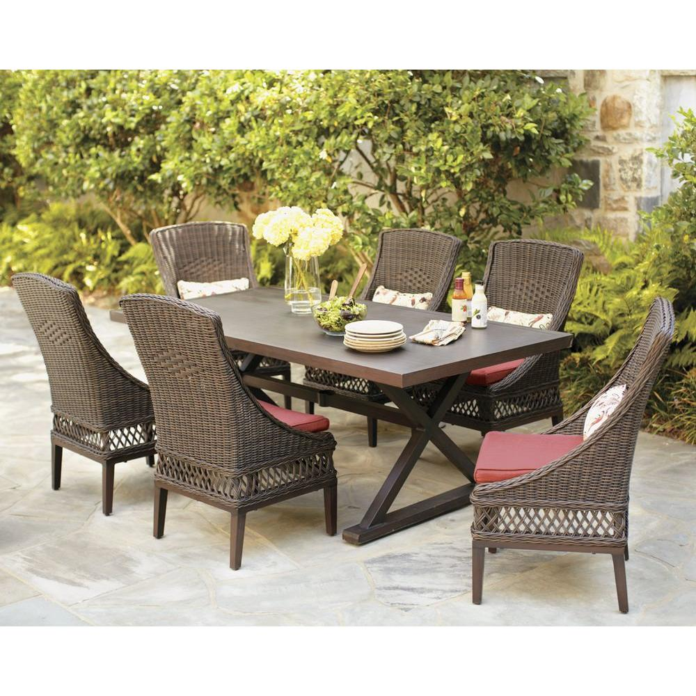 best outdoor dining chairs bedroom chair leather hampton bay woodbury 7 piece wicker patio set with chili cushion