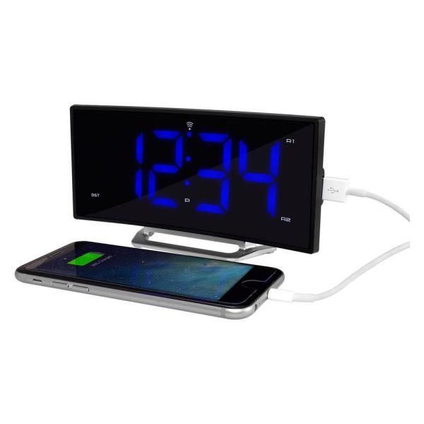 Blue Led Atomic Dual Alarm Clock 1.8 In.curved Bedside