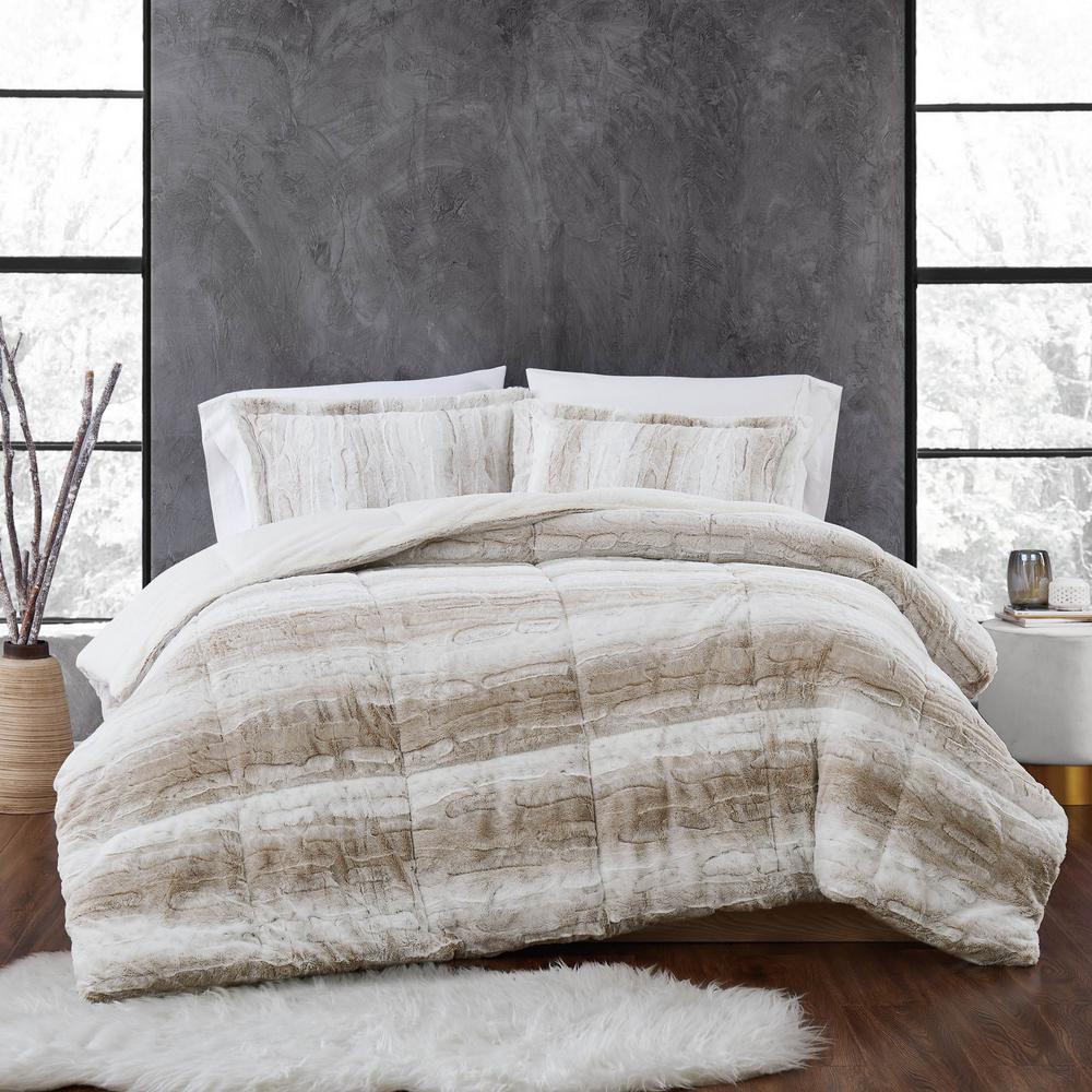 unbranded snow leopard 3 piece tan faux fur king comforter set cs3769tnkg 1700 the home depot