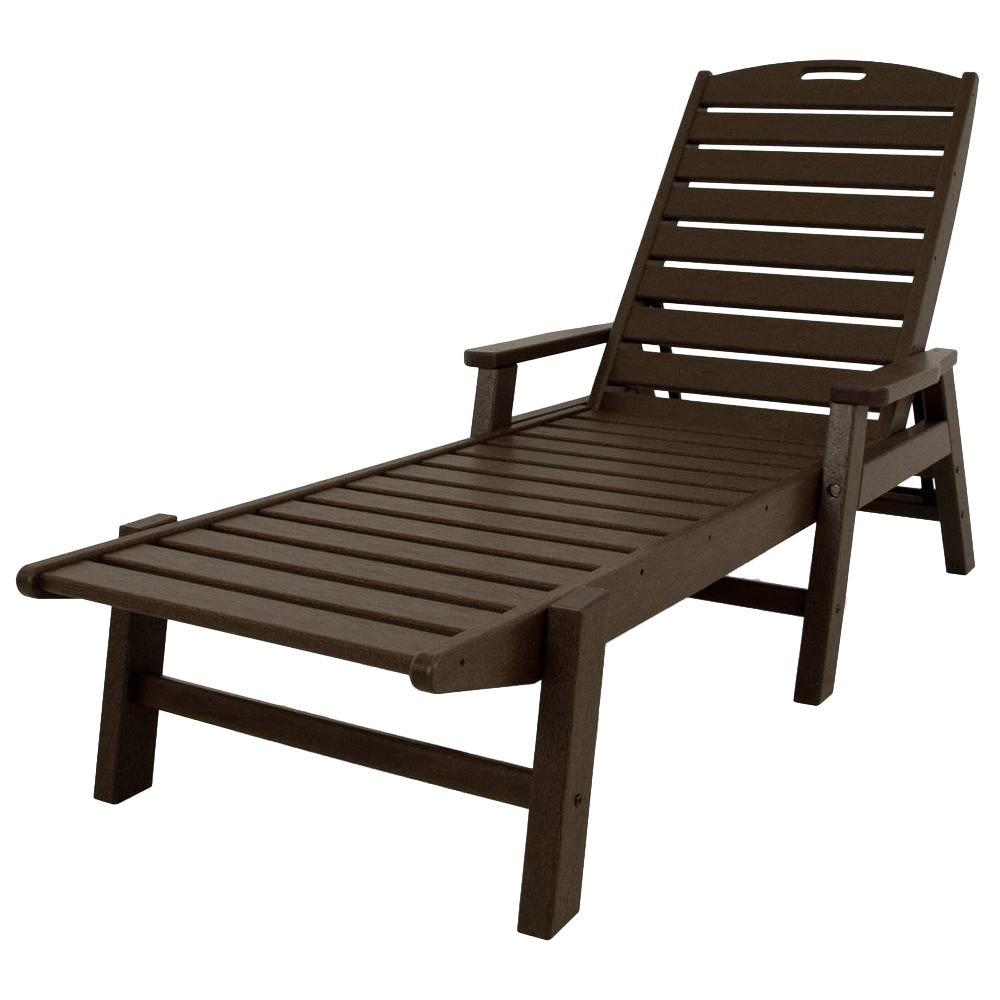 POLYWOOD Nautical Mahogany Stackable Plastic Outdoor Patio