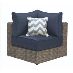 Cushions For Wicker Chairs Pop Up Tent Home Decorators Collection Naples Grey All Weather Corner Outdoor Sectional Chair With Navy