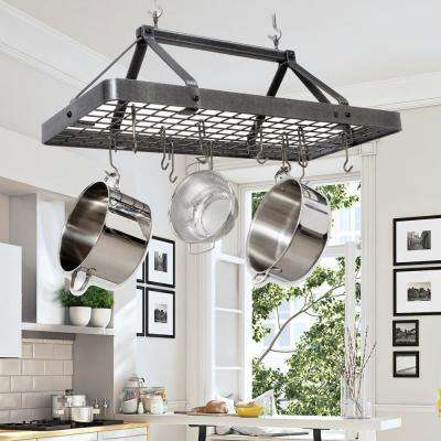 kitchen pot racks unique faucets for kitchens storage organization the home depot handcrafted carnival rectangle ceiling rack with 18 hooks hammered steel