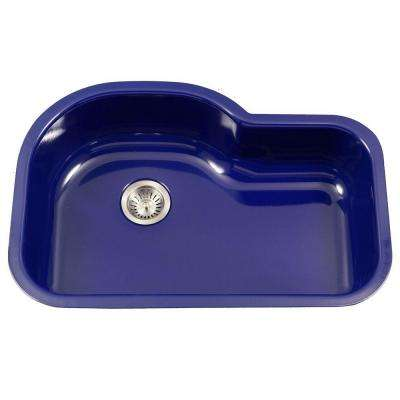 blue kitchen sink how much does a cabinet cost navy sinks the home depot porcela series undermount porcelain enamel steel 31 in offset single bowl
