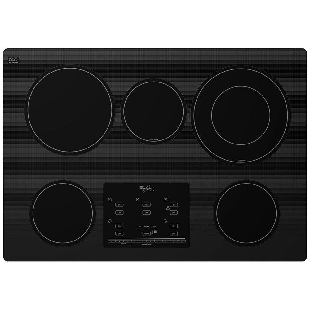 hight resolution of radiant electric cooktop in black with 5 elements including accusimmer