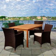 Moore 5-piece Teak Rectangular Patio Dining Set