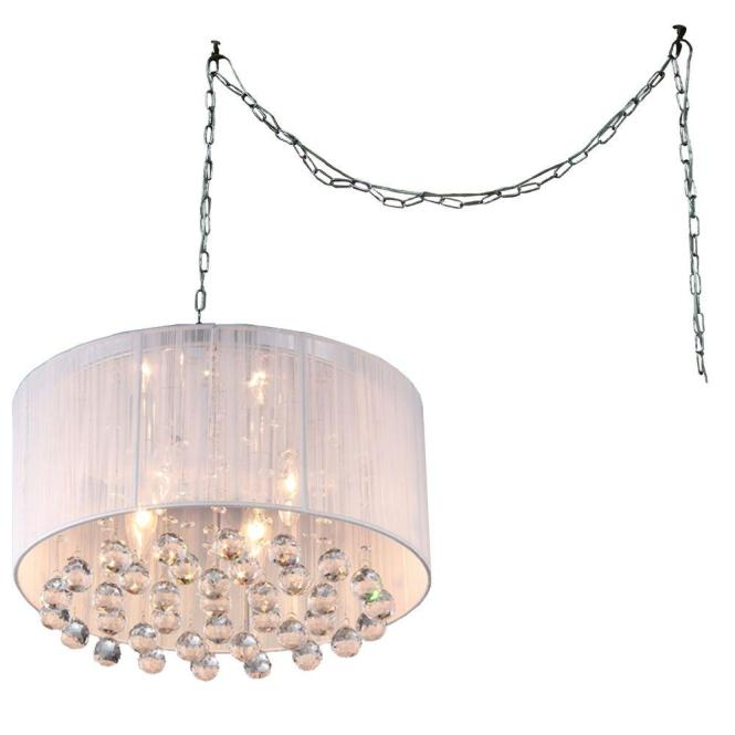 Null Mineya 5 Light Chrome Indoor White Fabric 17 In Crystal Swag Chandelier With
