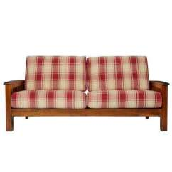 Wood Frame Living Room Furniture Decorating Long Polyester 19 The Home Depot Omaha Mission Style Sofa With Exposed In Red Plaid