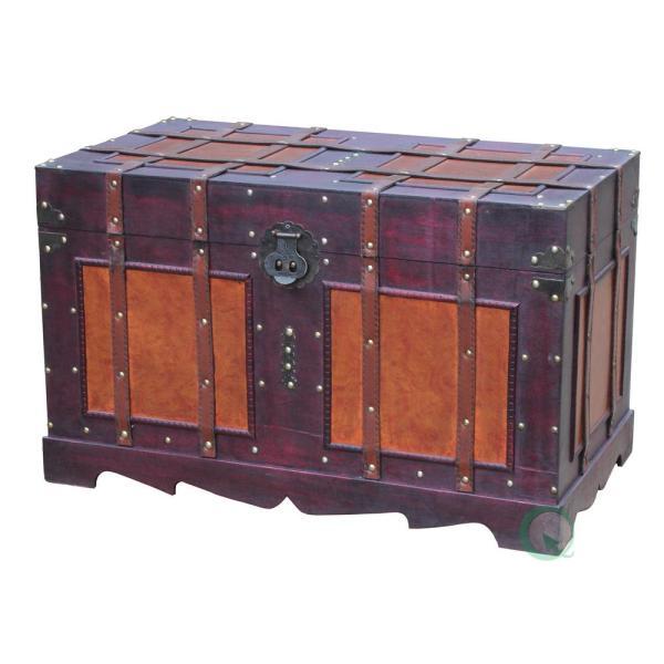 Brown Storage Trunk-qi003042l - Home Depot