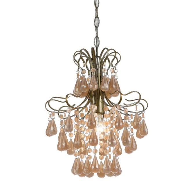 Af Lighting Tiffany 1 Light Soft Gold Mini Chandelier With Pink Plastic Pearl Teardrop Accents