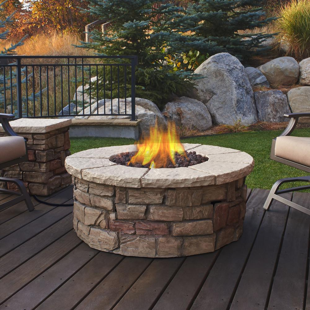 Real Flame Sedona 43 in x 17 in Round FiberConcrete