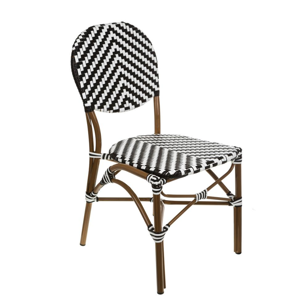 White Bistro Chairs Aspen Brands Brown Aluminum Stackable Black And White Plastic Wicker Bistro Chair Commercial Grade Outdoor Dining Chair