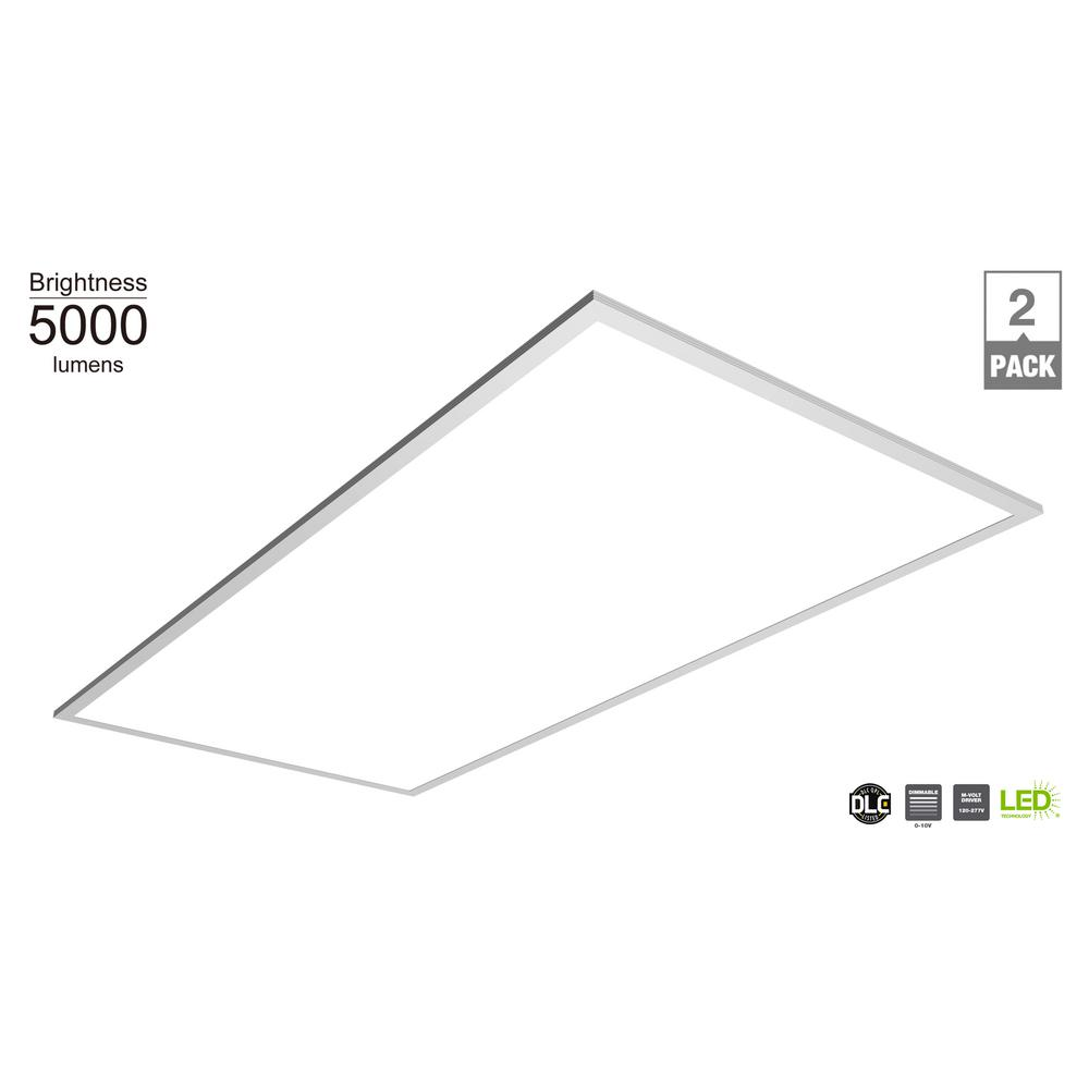 Commercial Electric 5000 Lumen 2ft x 4ft White LED Flat