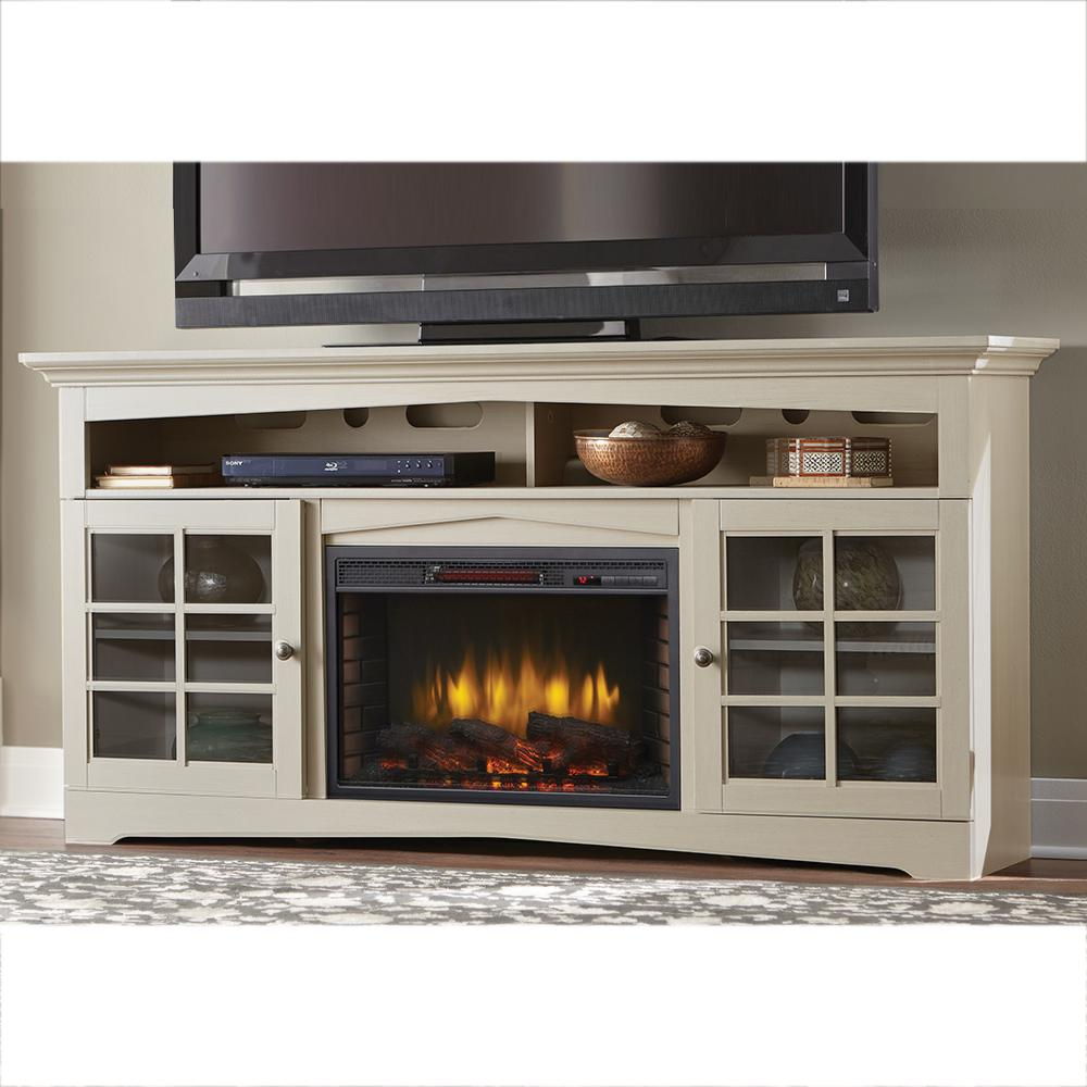 Home Decorators Collection Avondale Grove 70 in TV Stand Infrared Electric Fireplace in Aged