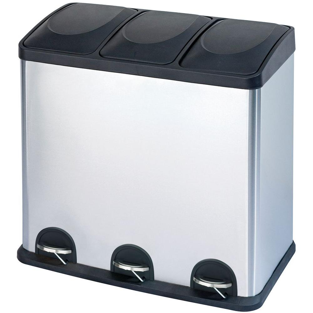 kitchen recycle bin best cleaner for cabinets indoor recycling bins trash the home depot 16 gal 3 compartment stainless steel and
