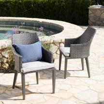 Noble House Ansley Grey Stationary Wicker Outdoor Dining