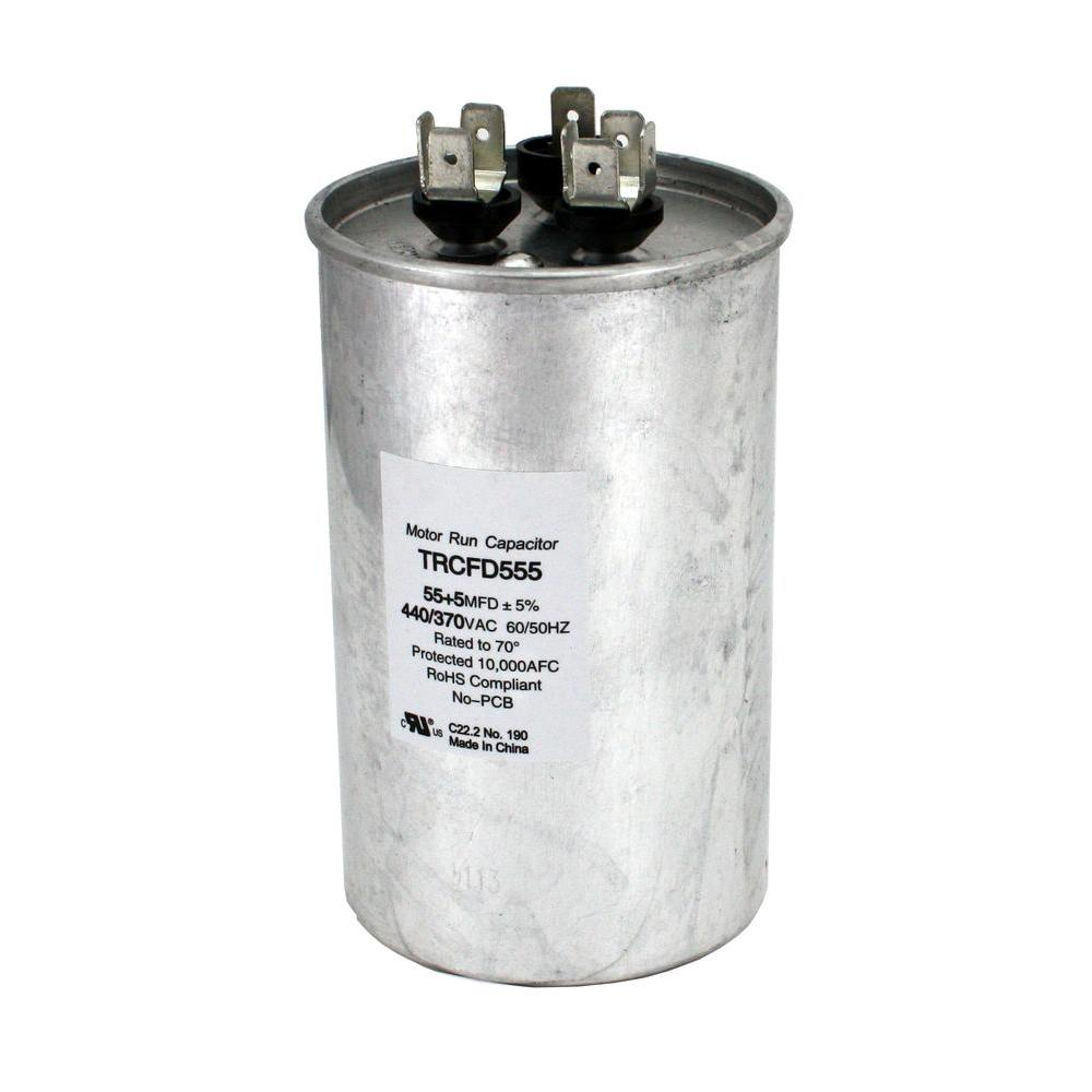 medium resolution of packard 440 volt 55 5 mfd dual rated motor run round capacitor trcfd555 the home depot