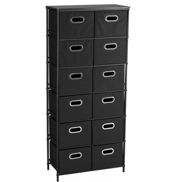 Household Essentials Black 6 Metal Shelf With 12 Bins Storage Stand-8032-1 - Home Depot