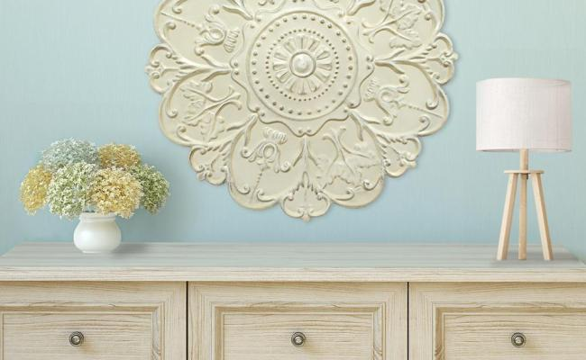 Shabby White Medallion Wall Decor S03354 The Home Depot