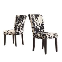 HomeSullivan Whitmire Black Cowhide Fabric Parsons Dining ...