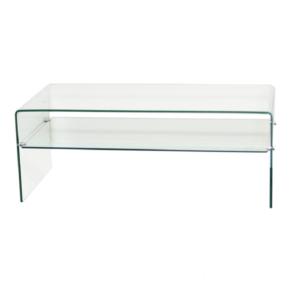 fab glass and mirror 46 in clear large rectangle glass coffee table with shelf xct321 the home depot