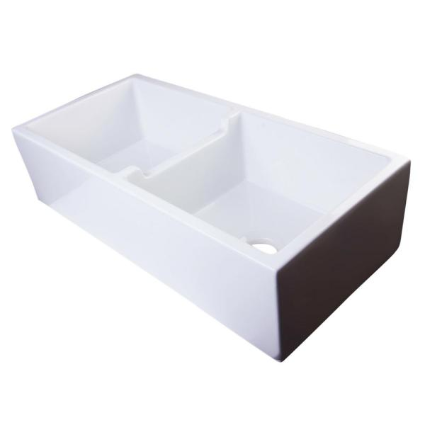 Alfi Brand Smooth Farmhouse Apron Fireclay 39 In. Double Basin Kitchen Sink In White-ab3918db