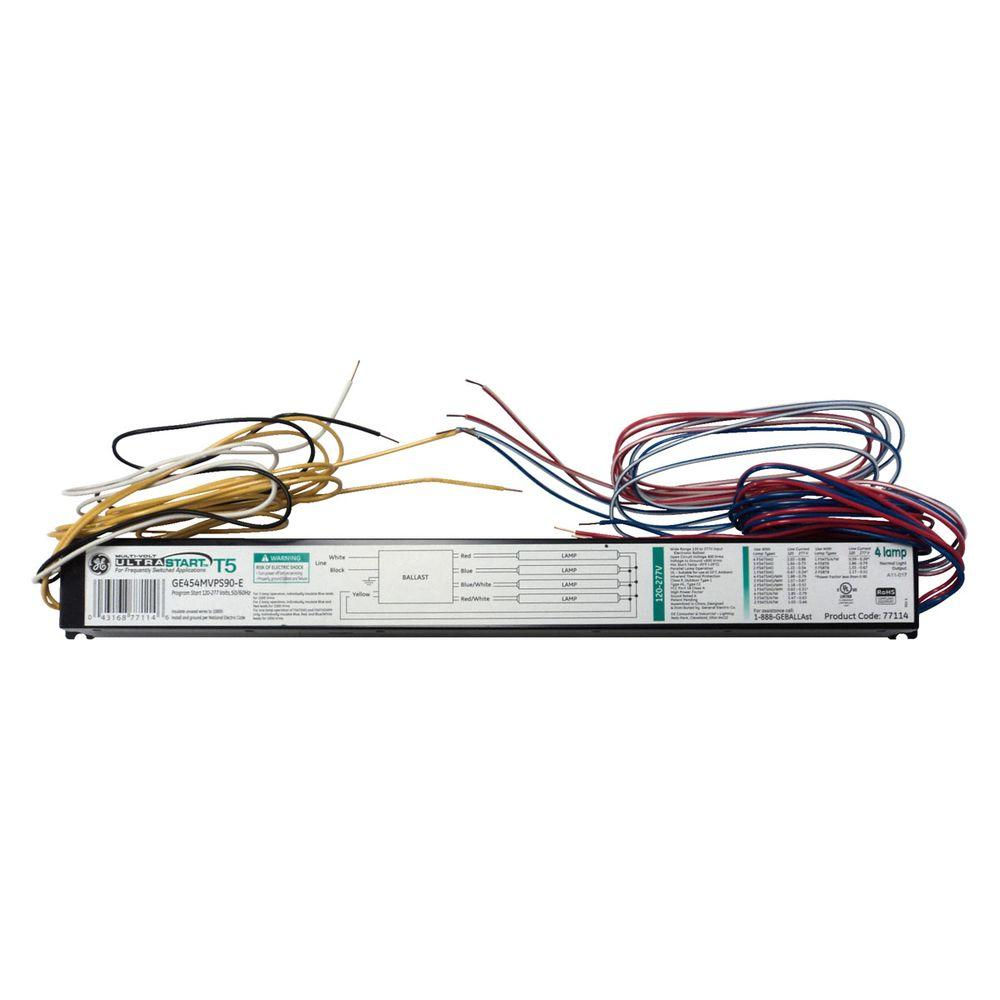 hight resolution of ge 120 to 277 volt electronic ballast for 54 watt 4 to 1 lamp t5 240 volt 4 lamp t5 fluorescent ballast wiring diagram