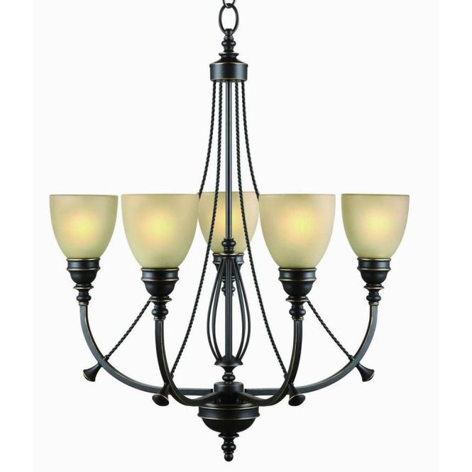 Commercial Electric 5 Light Bronze Chandelier With Tea Stained Glass Shades Rb063 P5 The Home Depot