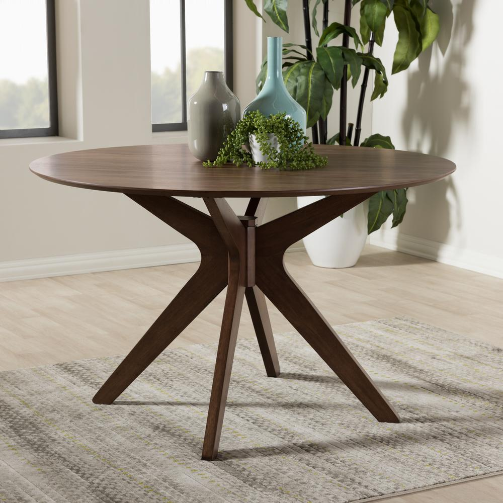 baxton studio monte medium brown finished wood dining table 28862 7175 hd the home depot