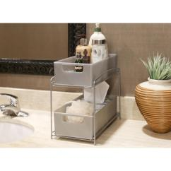 Kitchen Counter Organizer Brushed Brass Faucet Seville Classics 2 Tier Satin Pewter Pull Out Sliding Drawer