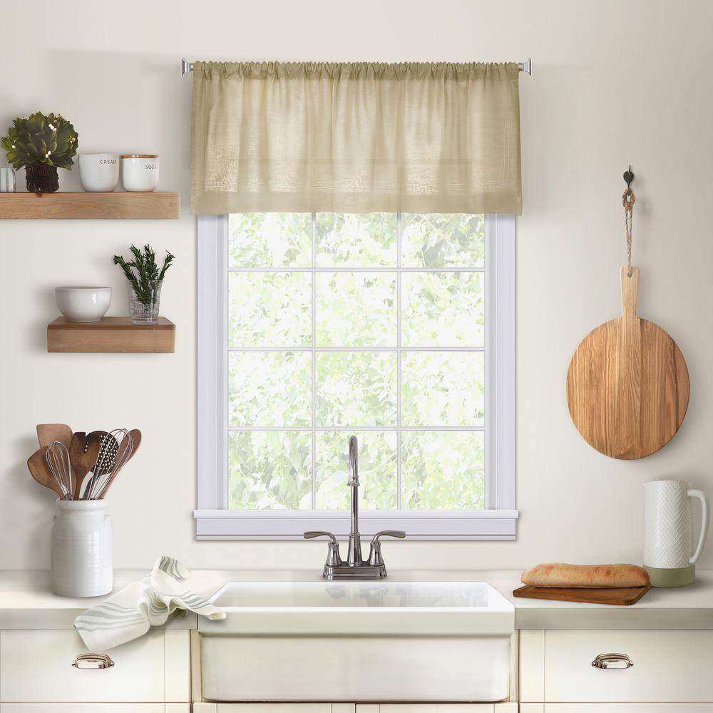 kitchen valance portable island with granite top window scarves valances treatments the home depot elrene cameron single in linen 60