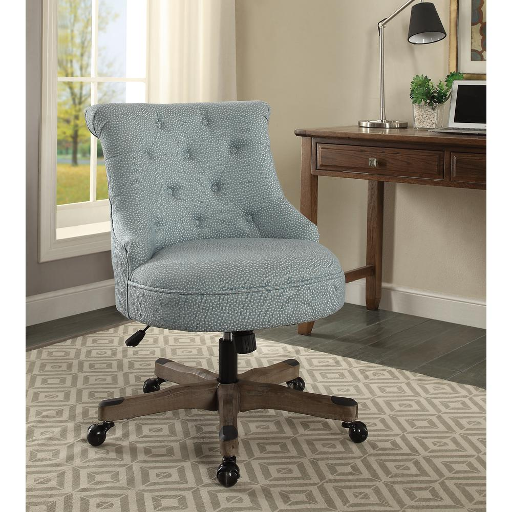 blue and white upholstered chairs costco lounge linon home decor sinclair light with polka dots fabric gray wood base office chair