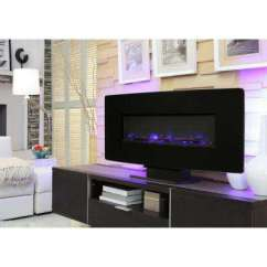 Contemporary Living Room With Electric Fireplace Pink Set Modern Programmable Thermostat Fireplaces Glass Curved Front Wall Mount In Black