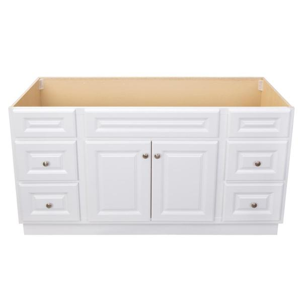 Glacier Bay Hampton 60 In W X 21 In D X 33 1 2 In H Bathroom Vanity Cabinet Only In White Hwh60dy The Home Depot