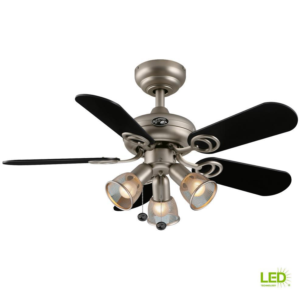 medium resolution of led indoor brushed steel ceiling fan with